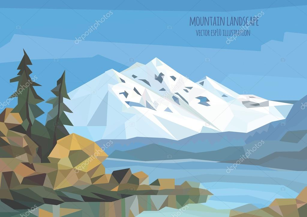 vector landscape illustration with ice mountains, lake and trees