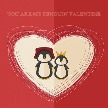 vector valentines's day card with illustration of two penguins in heart shaped frame