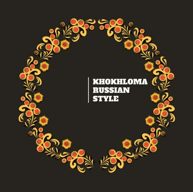 vector wreath illustration of traditional folk russian floral old ornament named khokhloma on black background