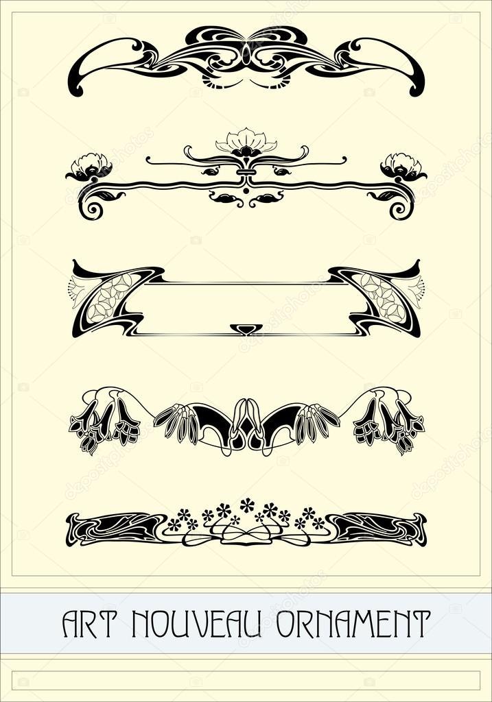 Decorazioni in stile Liberty, ornamento, modello di vettore\u2013 illustrazione  stock