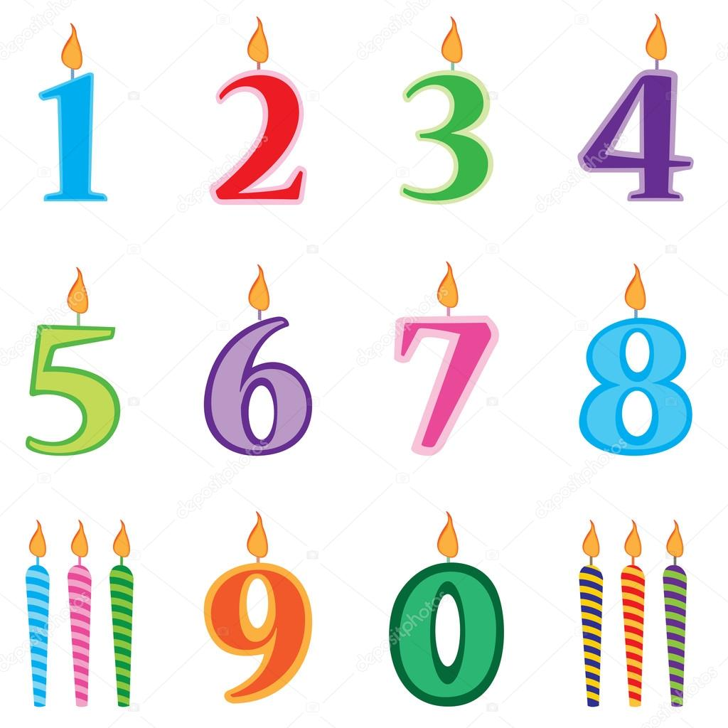 Birthday Candles Numbers Set Cartoon Stock Illustration