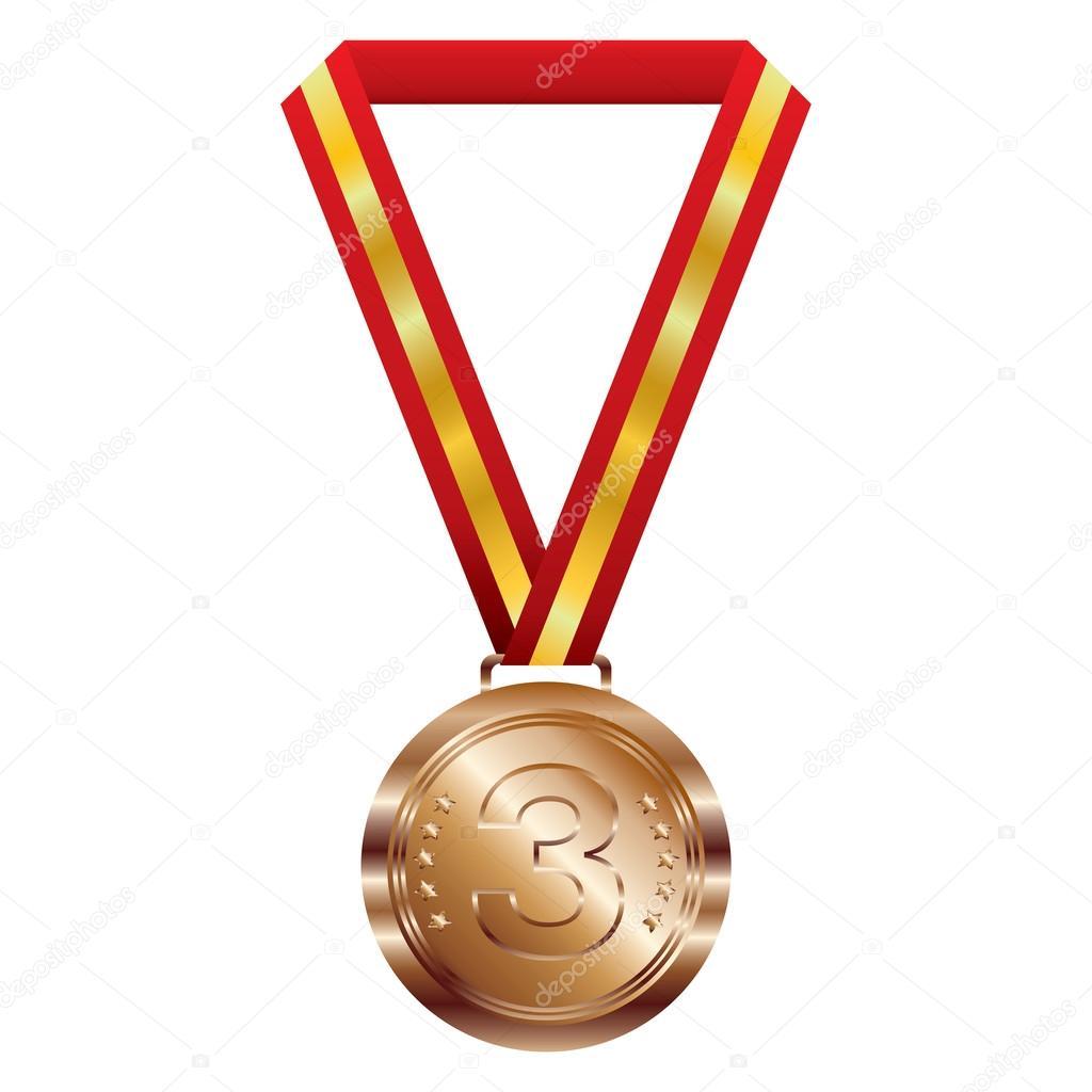 Medaglia Di Bronzo Su Priorità Bassa Bianca. Medaglia Premio U2014 Vettoriale  Stock