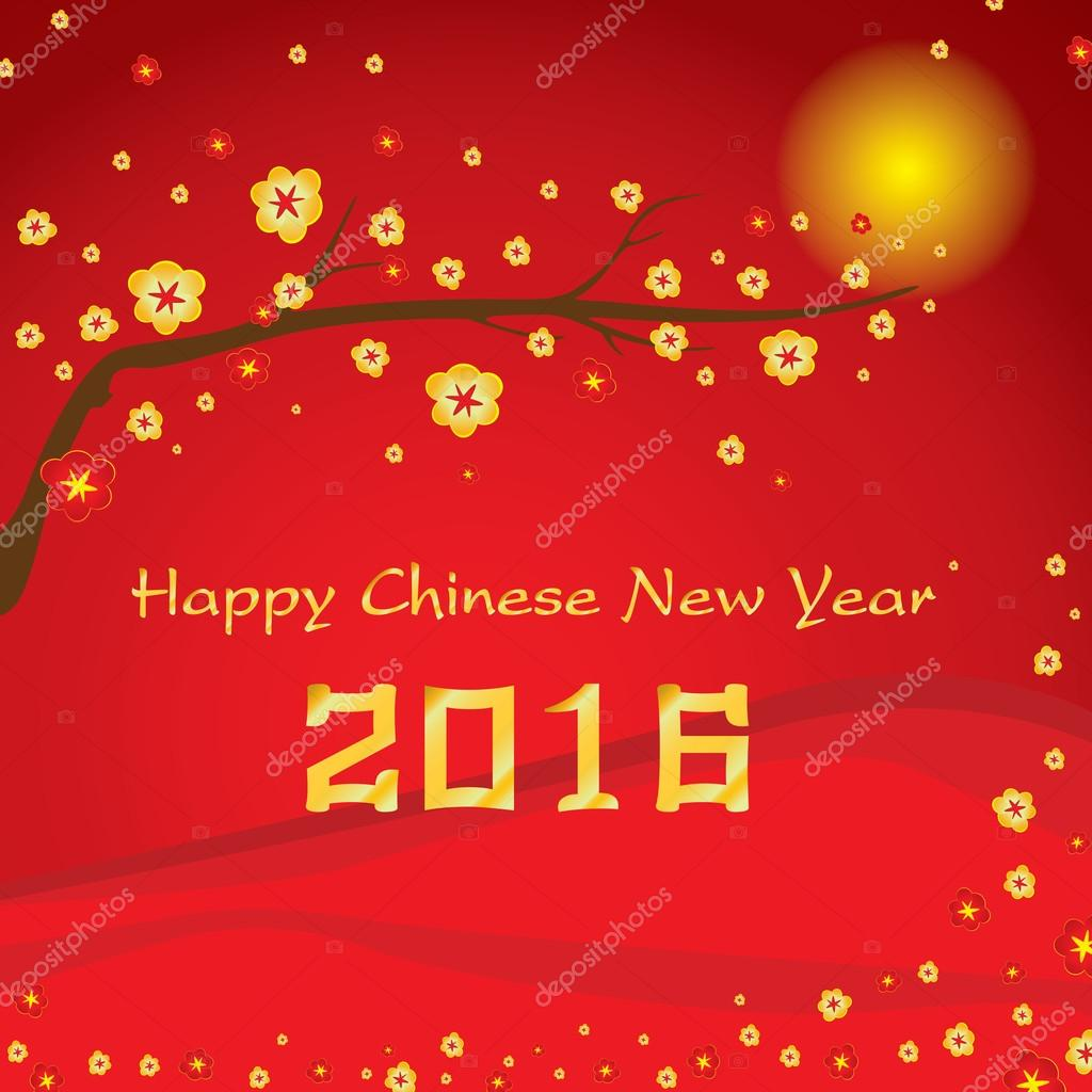 Happy Chinese New Year 2016 Card and colorful flower on red background. Vector Chinese New Year background.