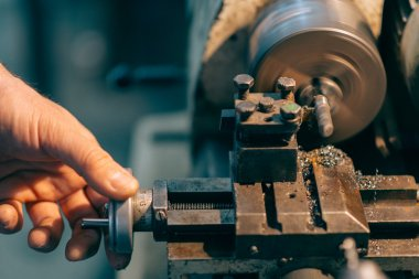 Vintage lathe.Selective focus and small depth of field..