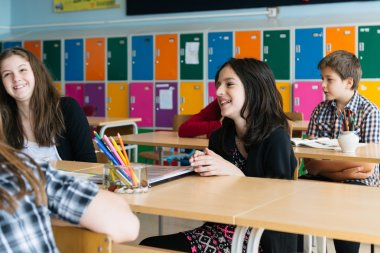 schoolchildren teaching in school