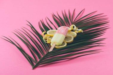 Tropical ice cream on palm flower