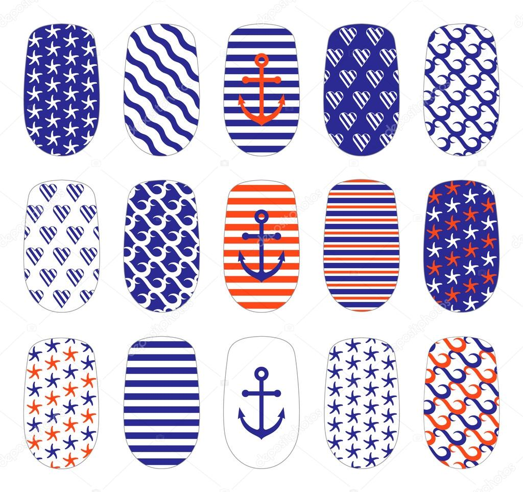 Nagel Kunst marine Stilvorlagen — Stockvektor © nadieshe.gmail.com ...