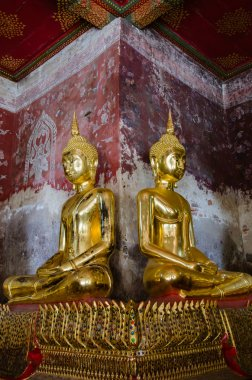 Veranda of Gild Buddha Sculptures at Wat Suthat, Bangkok of Thailand.