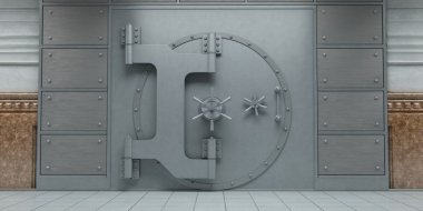 3d rendering of an closed huge bank vault doors front view