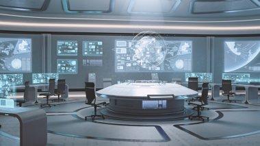 Empty, modern, futuristic command center interior