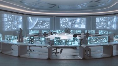 Modern, futuristic command center interior  with people silhouettes
