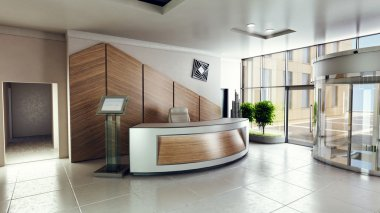 Lobby entrance with reception desk in a business center building