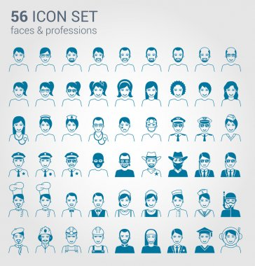 Regular people and professions icon set