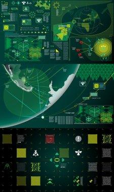Dark green, white and yellow modern warfare holographic gui illustration