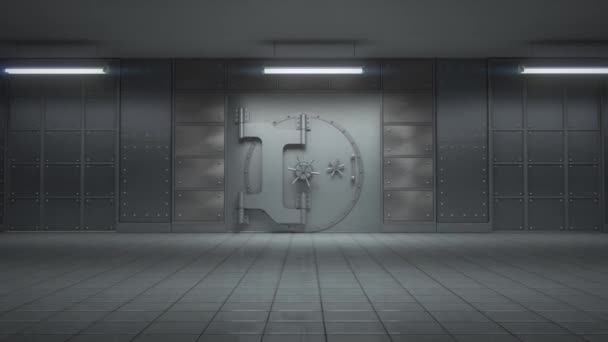 3D animace otevření obrovské bankovní trezor plný zlatých prutů s kamerou bude ke