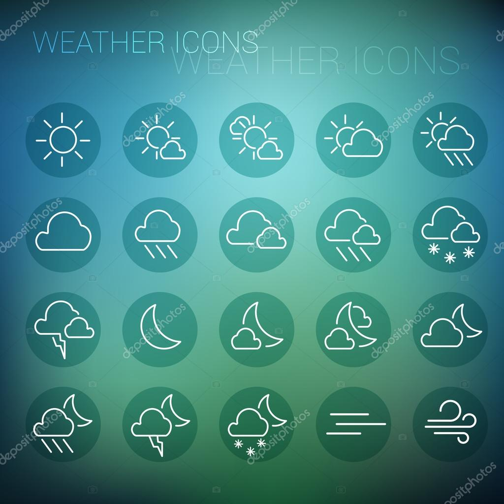 White weather icon set in dark circles and blurred background