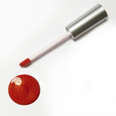 red orange lip gloss package