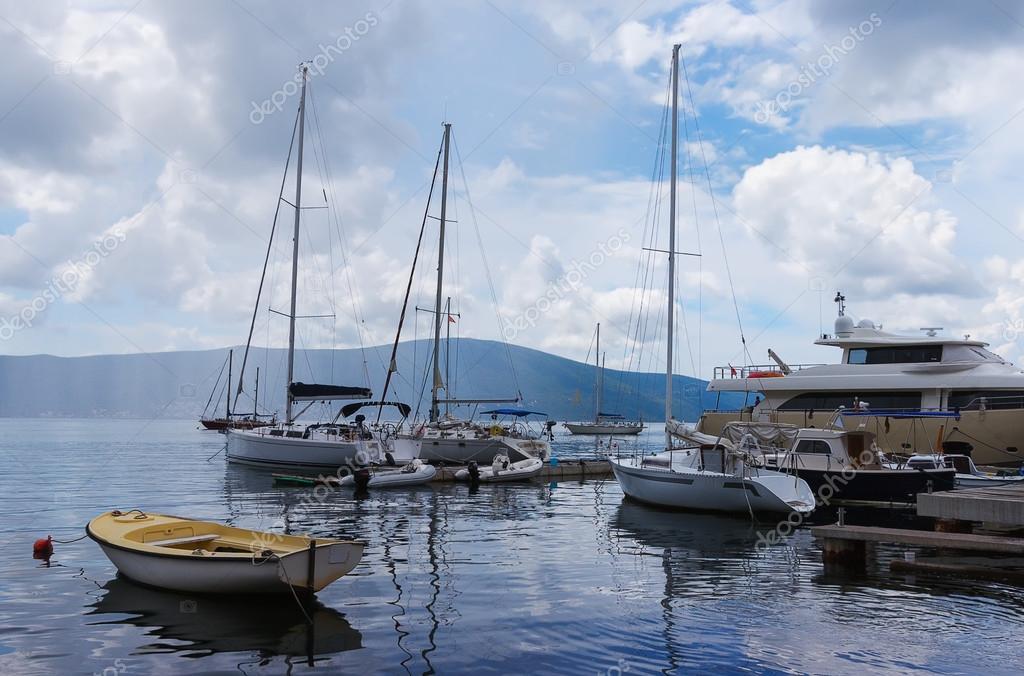 Docked yachts. Bay of Kotor, Montenegro