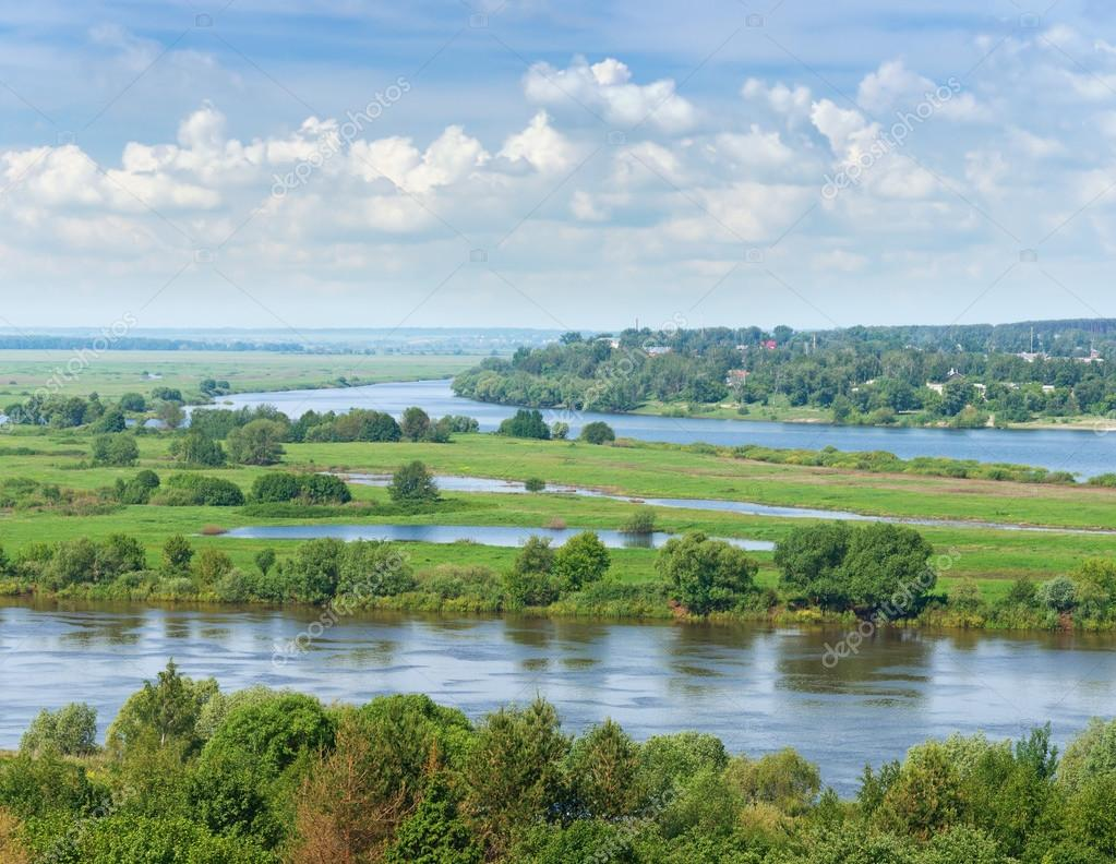View Oka River bank near Spassk-Ryazansky town.  Central Russia