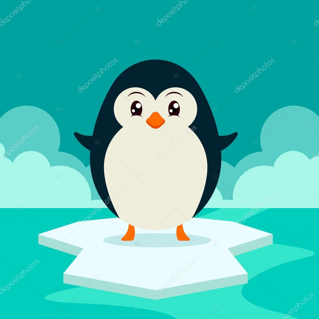 Feliz ping ino en hielo vector de stock stickerama for Disegno pinguino colorato