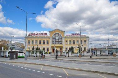 Moscow, Russia - April 26, 2021: Savelovsky railway station. Savelovsky Railway Station Square