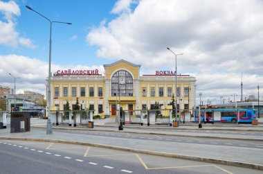 Moscow, Russia - April 26, 2021: View of the Savelovsky Railway Station building from the Savelovsky Railway Station square