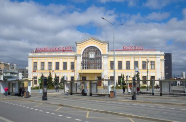 Moscow, Russia - April 28, 2021: View of the Savelovsky Railway Station square on a spring day. Savelovsky Railway Station