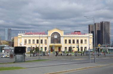 Moscow, Russia - April 28, 2021: View of the Savelovsky Railway Station square. Savelovsky Railway Station building
