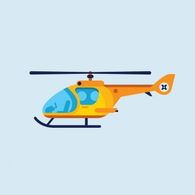 illustration of flat helicopter