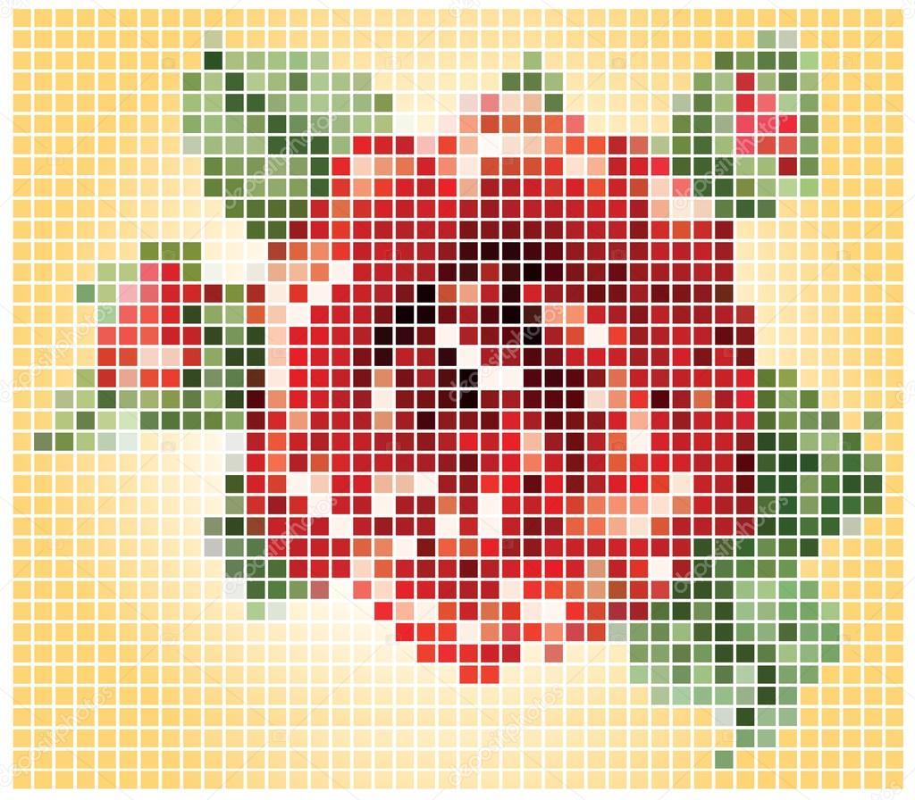 Pixel flower Vector Illustration