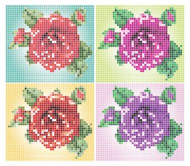 4 pixel flowers