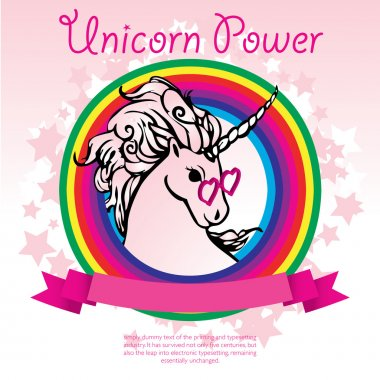Pink Unicorn Power with a rainbow vector illustration.