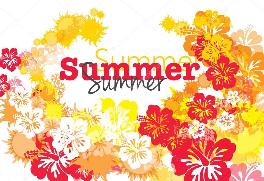 Summer Season. Vector Illustration with flowers.