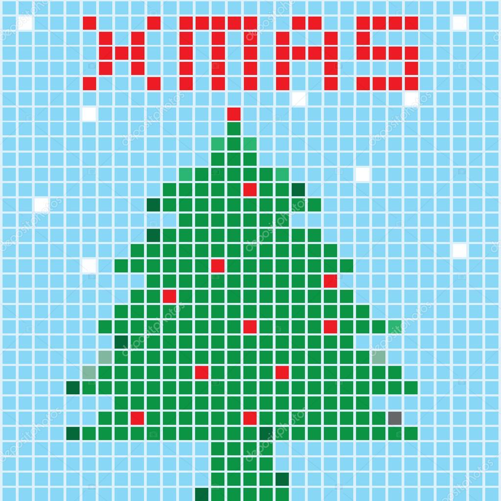 Arbre De Noël Style Pixel Art Image Vectorielle Gal Amar