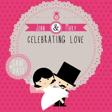 Wedding couple Cartoon card