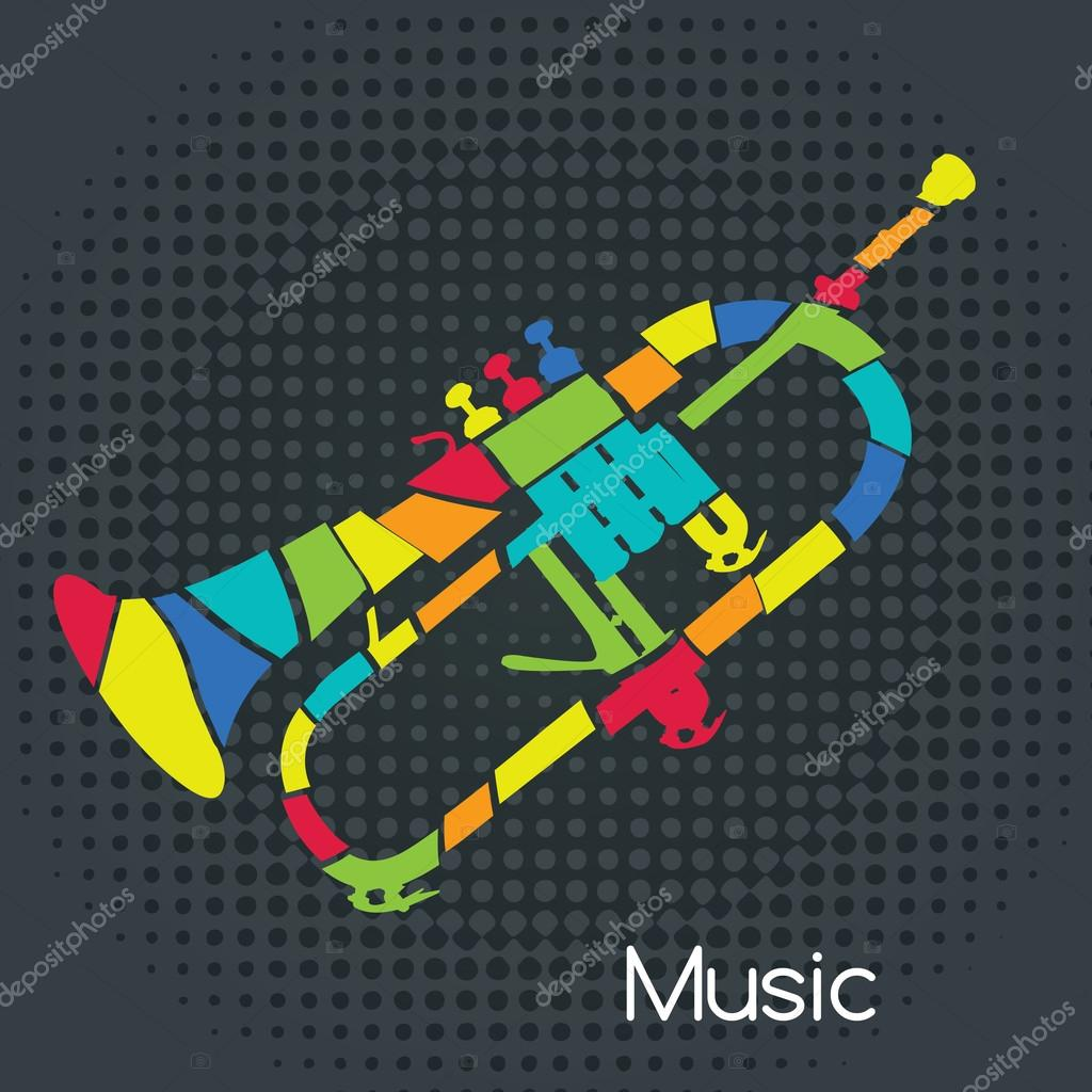 Acoustic Retro Trumpet, Vector illustration. Musical symbols for poster design. Colored music instrument vector graphic.