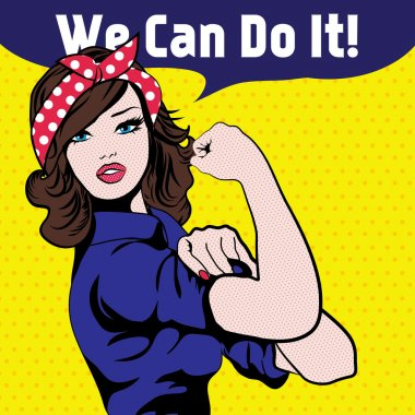 We Can Do It. Iconic woman's fist symbol of female power and industry. cartoon woman with can do attitude. stock vector