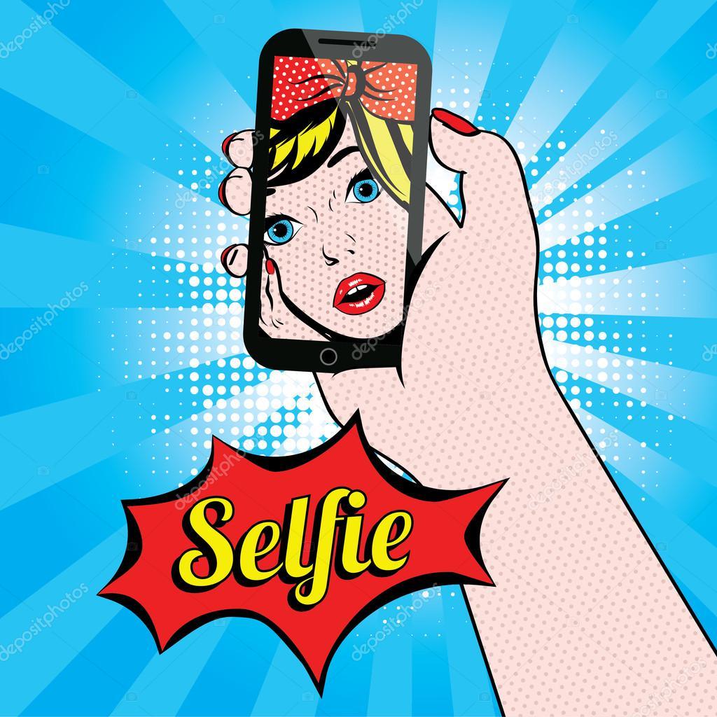 Woman Selfie Pop Art