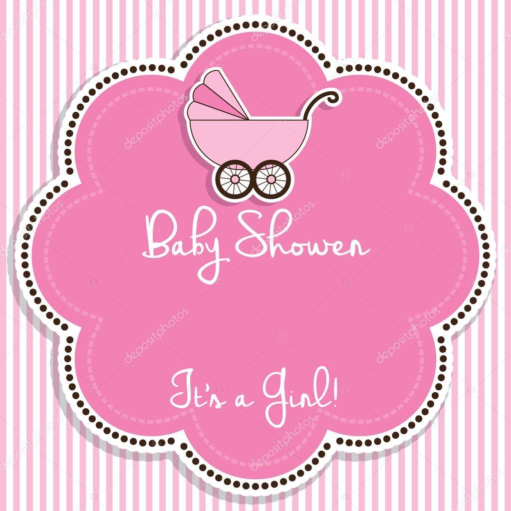Einladung Zur Babyparty Mädchen U2014 Stockvektor #92641090