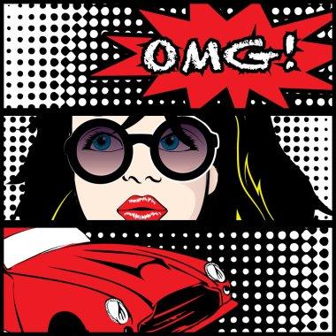 Pop art OMG Card. Vector Illustration clip art vector