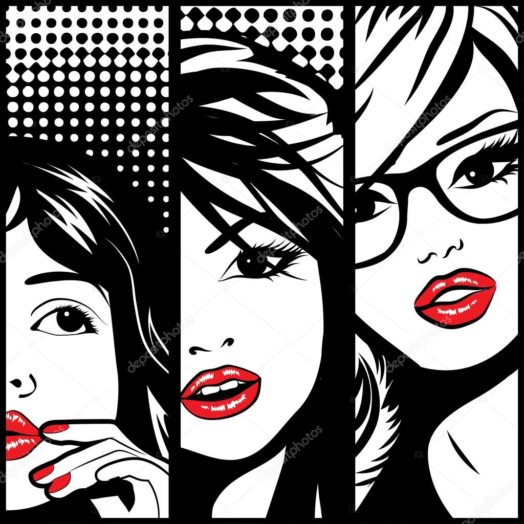 pop art faces of woman � stock vector 169 galamar 92672958