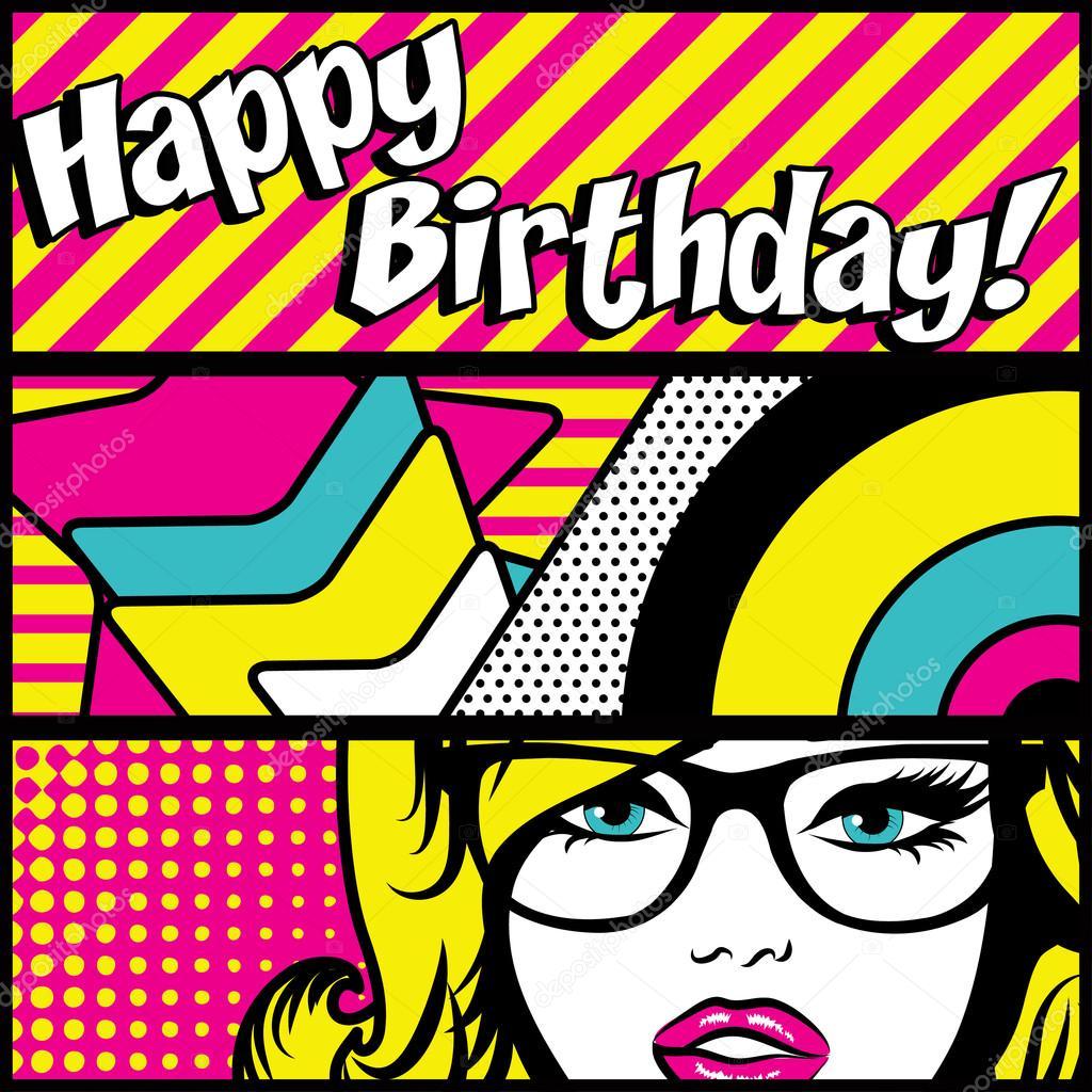 Pop Art Happy Birthday Card Vector Illustration Vektor Von