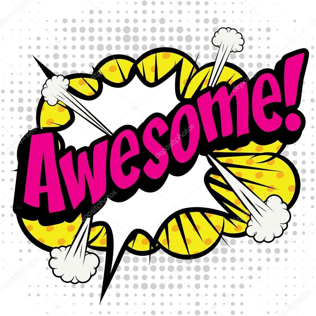 """Pop Art Comics Icon """"Awesome!""""."""