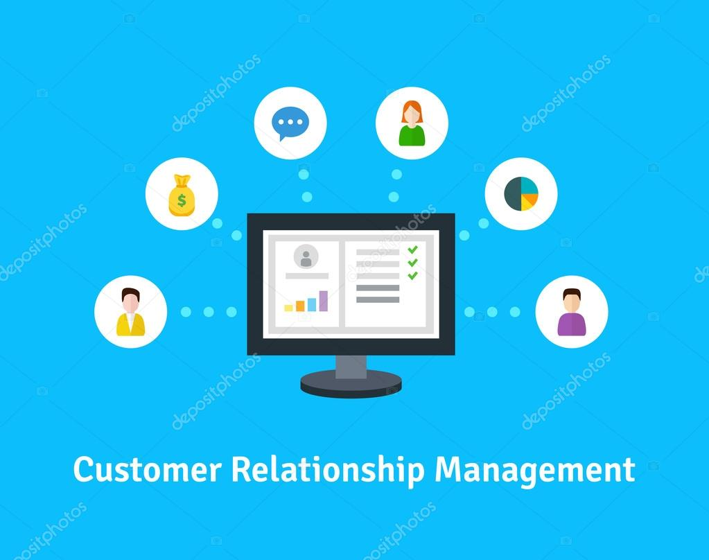 Flat Icons Of Accounting System Clienrs Support Deal The Organization Data On Work With Clients CRM And