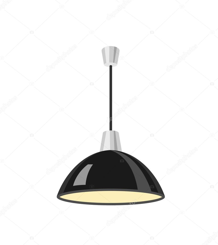 Black Ceiling Lamp Royalty Free Vector Image: Hanging Black Lamp Vector Illustration.