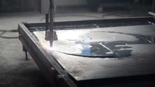 Industrial laser plasma cutting processing manufacture technology of flat sheet metal steel material with sparks