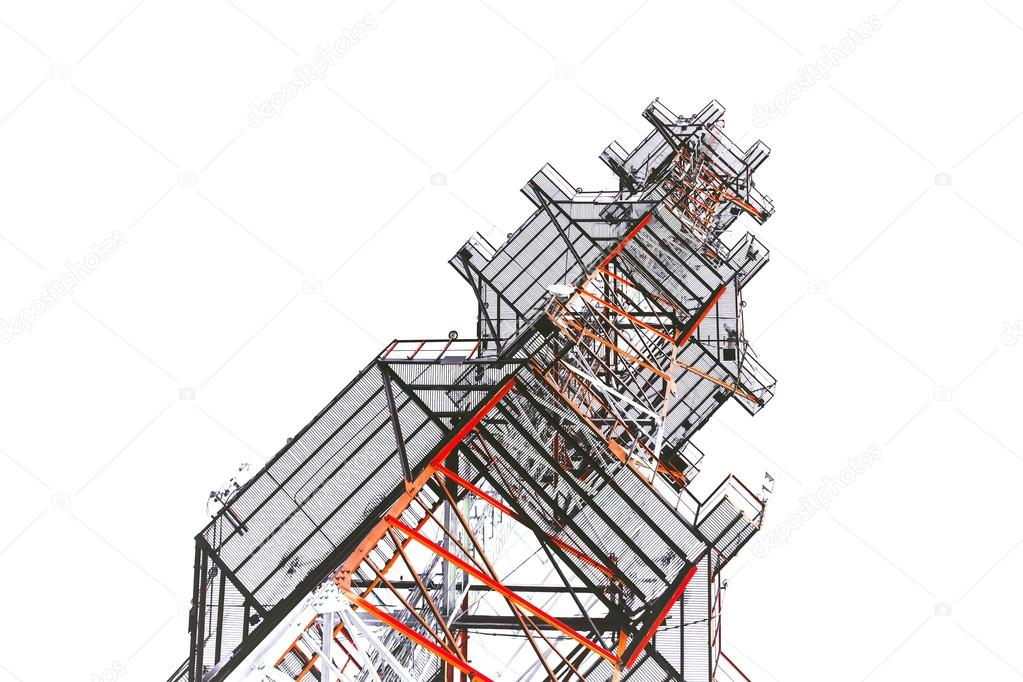 Telecommunications antenna tower for radio — Stock Photo