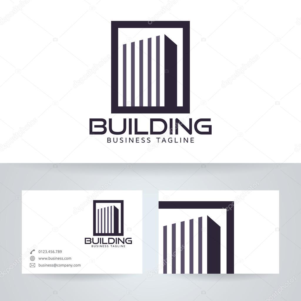 Logo Vectoriel Batiment Avec Modele De Carte Visite Image Vectorielle