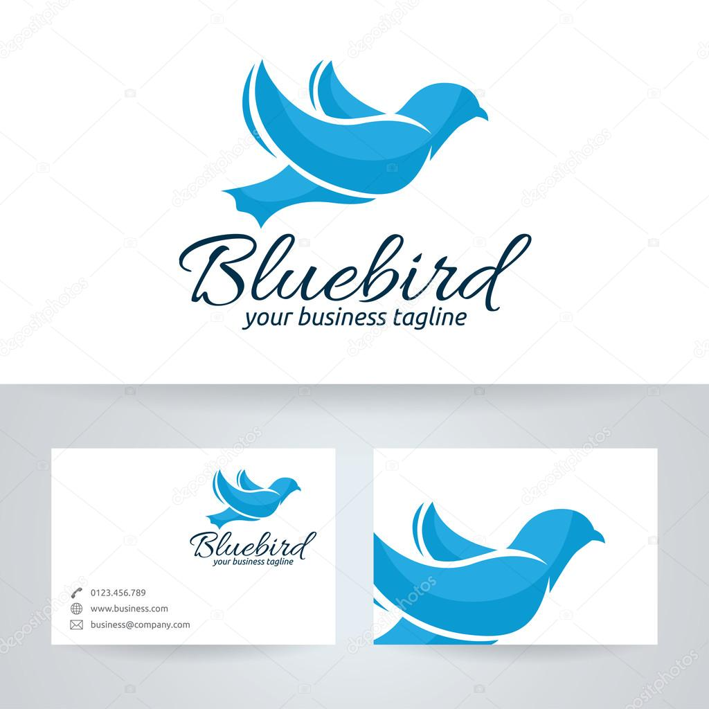 blue bird vector logo with business card template � stock