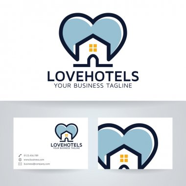 Love hotels vector logo with business card template stock vector